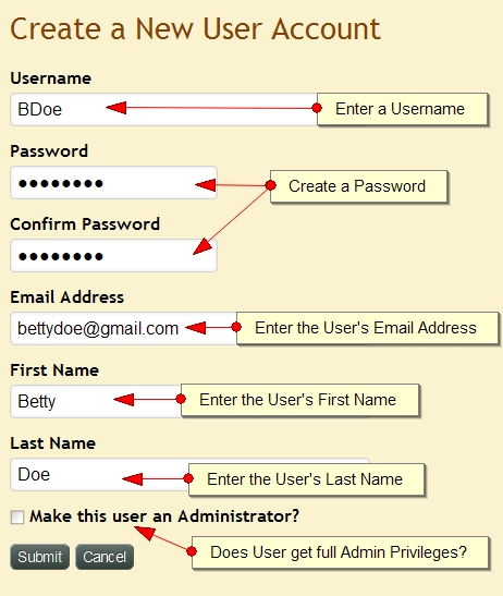 Create New User Account Exponent CMS