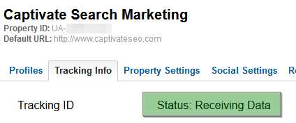 Google Analytics Tracking Status